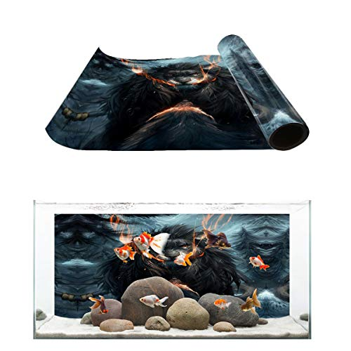 Fantasy Star Aquarium Background Angry Hostile Lion Fish Tank Wallpaper Easy to Apply and Remove PVC Sticker Pictures Poster Background Decoration 18.4