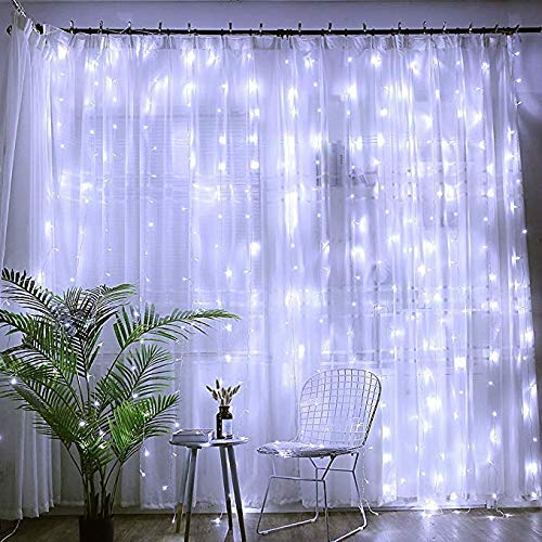 Bjour 300 LED Curtain Lights String Fairy Icicle Light Cool White, 8 Lighting Modes for Wedding Party Bedroom Christmas, BGGD-31 18W 9.84ft Length x 9.84ft Width
