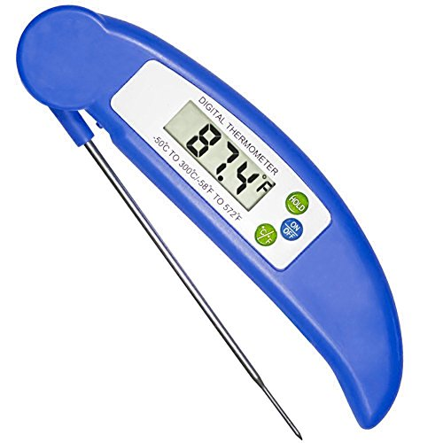 Lingstar Kitchen Food Digital Electron Probe Thermometer Folding Grilled Meat and Fish Baking Thermometer Blue
