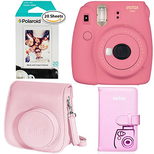 Fujifilm Instax Mini 9 Instant Camera – Flamingo Pink, Polaroid Instant Film Twin Pack – (20 Sheets), Instax Groovy Camera Case – Pink and Instax Wallet Album – PINK