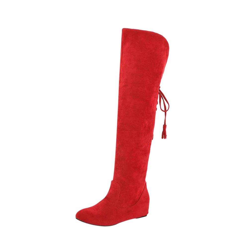 AOJIAN Women's Plush Warm Boots Comfortable Lace-up Thigh High Boots (6.5, Red)