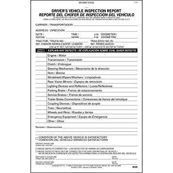 Amazon.com : Simplified Drivers Vehicle Inspection Report, Bilingual - Vertical Format - Stock (Qty: 10 Units) : Office Products
