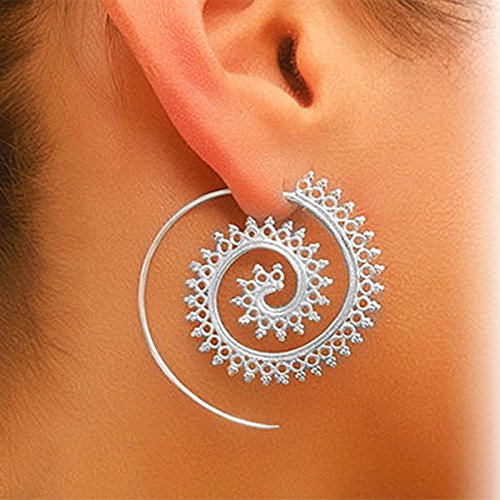 Vintage Boho Style Women Circles Round Spiral Tribal Hoop Earrings Retro Jewelry