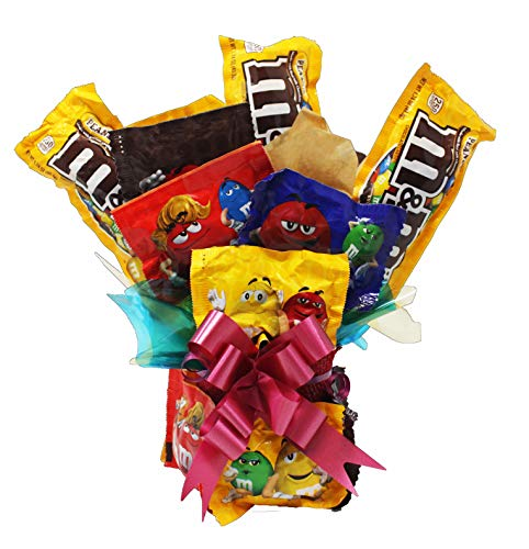 Bouquet Candy Well Soon - M&M Chocolate Candy Bouquet | Edible Arrangement of Fun Size and Full Size M&M's