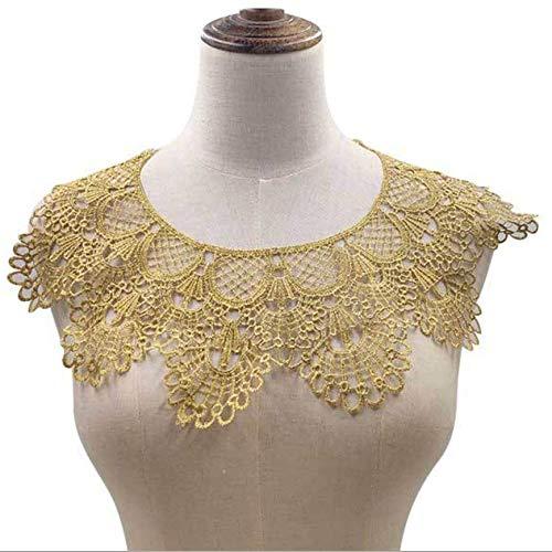 1 Pcs Golden Lace Fabric Garment Decals Shirt Sewing DIY Collar Garment Accessories (Round Collar Gold)
