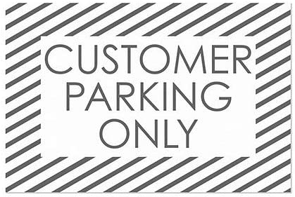 36x24 Customer Parking Only CGSignLab Stripes White Window Cling