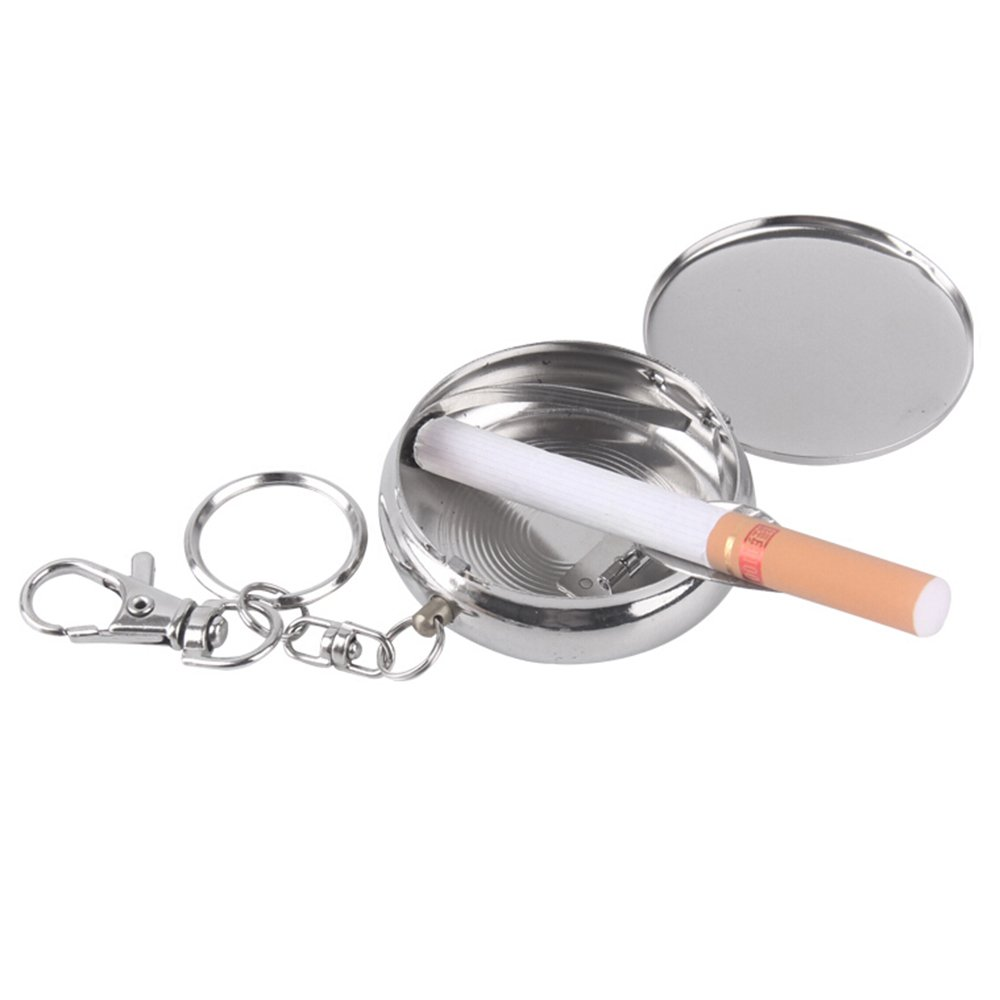 bjduck99 Creative Stainless Steel Portable Round Cigarette Ashtray Mini With Keychain