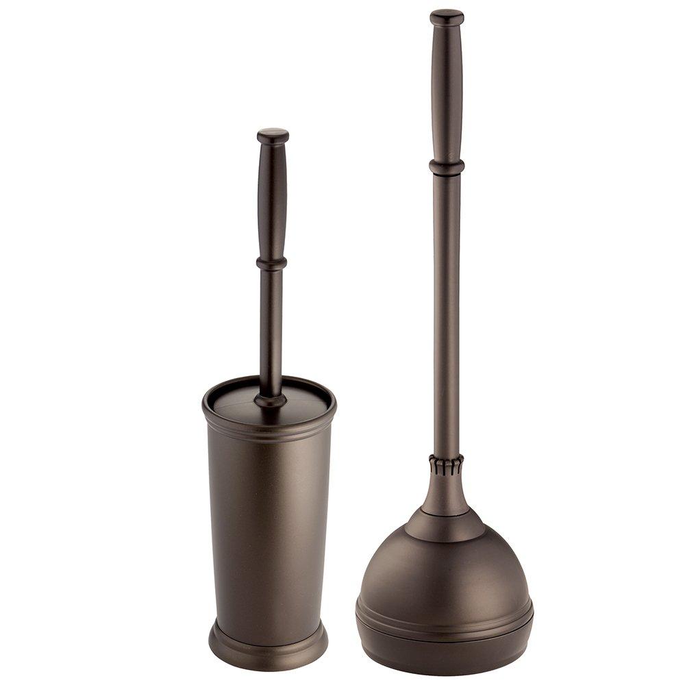 interDesign Toilet Brush and Storage Holder, Plunger-Set of 2, Bronze Kent Bowl Brush & Plunger C2, 2 Piece