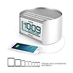 iHome iBT230 Bluetooth Bedside Dual Alarm Clock Radio with Speakerphone, USB Charging and Line-in (Silver)