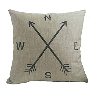 Onker Cotton Linen Square Decorative Throw Pillow Case Cushion Cover 18  x 18  Retro Compass