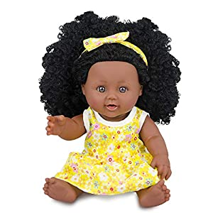 Best Epic Trends 51bT53LVghL._SS300_ Black Baby Doll African Girl Doll for Kids Girl Age 3 4 5 6 7 Years Fashion Play Doll 12inch Perfect for Birthday Gift…