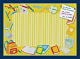 PinPix decorative pin cork bulletin board made from high quality canvas, Yellow School Supplies Board printed at 24x34 Inches and framed in Blue Stain on Beech (PinPix-33)