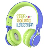 Kids Headphones, HD30 Volume Limiting Over Ear Kids Headset with Microphone for Boys Girls and iPad Tablets Computer Laptops Android Smartphone (Blue/Green)