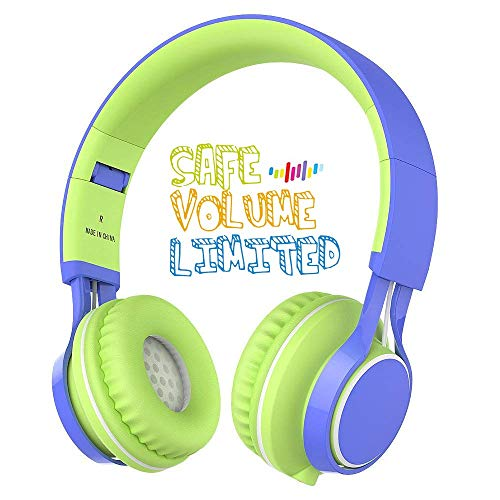 0 Volume Limiting Over Ear Kids Headset with Microphone for Boys Girls and iPad Tablets Computer Laptops Android Smartphone (Blue/Green) ()