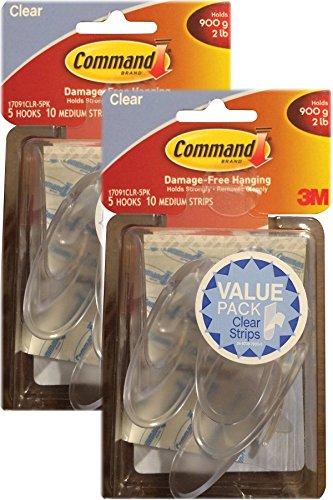 Command Medium Hooks, Clear, 10-Hook