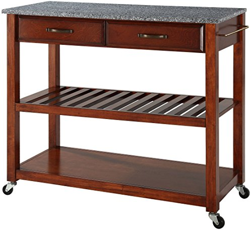 Crosley Furniture Portable Kitchen Cart with Solid Grey Granite Top - Classic Cherry