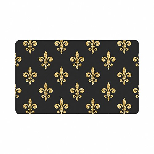 InterestPrint Gold (Not Real) Glitter Fleur De Lis Floral Doormat Non-Slip Indoor And Outdoor Door Mat Rug Home Decor, Entrance Rug Floor Mats Rubber Backing, 23.6