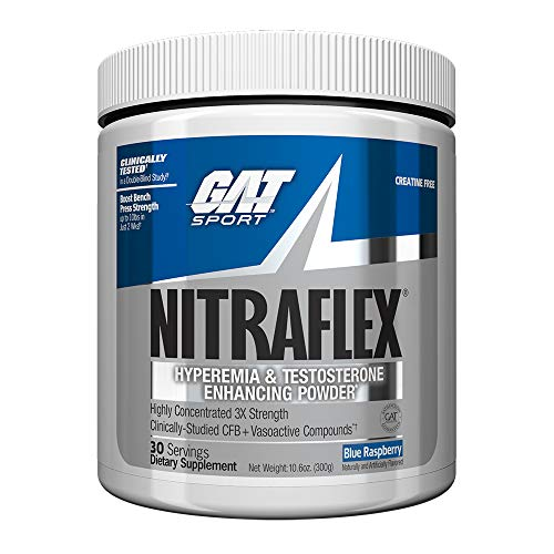 (GAT Clinically Tested Nitraflex Testosterone Enhancing Pre Workout, Blue Raspberry, 300 Gram)