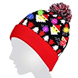 Light Up Hat,Coeuspow LED Light Up Beanie Hat Knit Cap with Copper Wire 6 LED Colorful Lights for Party,Lightshow,Jogging,Walking,Dancing,Christmas Gift (Red)