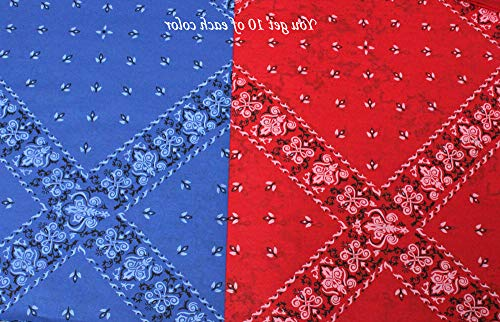 (20 Sheets (10 of Each Color) ~ Red & Blue Bandana Gift Wrapping Tissue Paper for Art DIY Crafts in Bulk ~ Western Theme Size 20