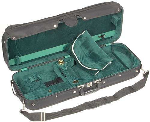 JSI Adjustable 1009 Viola Case with Black Exterior and Green Velour Interior made by Bobelock