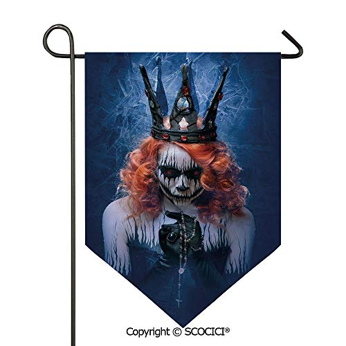 SCOCICI Easy Clean Durable Charming 28x40in Garden Flag Queen of Death Scary Body Art Halloween Evil Face Bizarre Make Up Zombie,Navy Blue Orange Black Double Sided Printed,Flag Pole NOT -