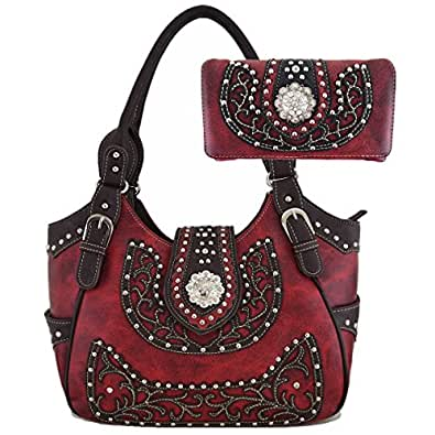 Cowgirl Retro Style Concealed Carry Shoulder Bag Hobo Totes Purse Women's Handbag Wallet Set (burgundy)