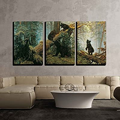 Black Bears In Forest - 3 Panel Canvas Art