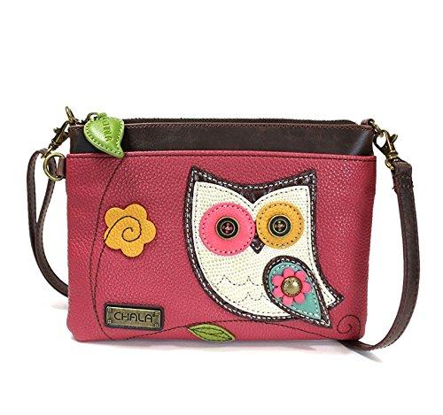(Chala Mini Crossbody Handbag, Multi Zipper, Pu Leather, Small Shoulder Purse Adjustable Strap - Owl - Dark Pink)