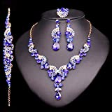 Crystal Wedding Jewelry Sets For Bride Party Costume Accessories Bridal Decorations Necklace Earring Jewellery For Women