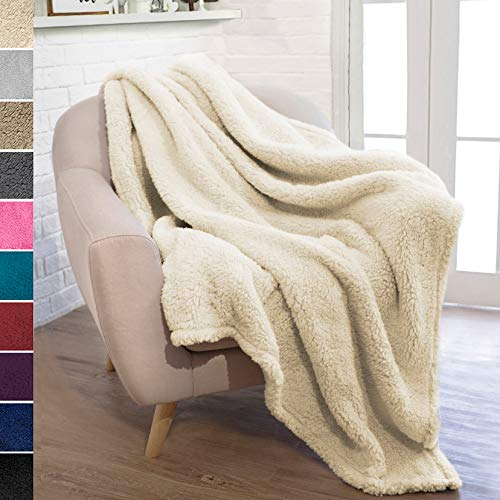 (PAVILIA Plush Sherpa Throw Blanket for Couch Sofa | Fluffy Microfiber Fleece Throw | Soft, Fuzzy, Cozy, Lightweight | Solid Latte Cream Blanket | 50 x 60 Inches)