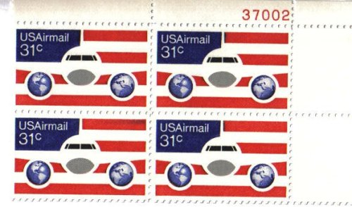 Airmail Plate Block (1976 PLANE, GLOBES & FLAG Airmail #C90 Plate Block of 4 x 31 cents US Postage Stamps)