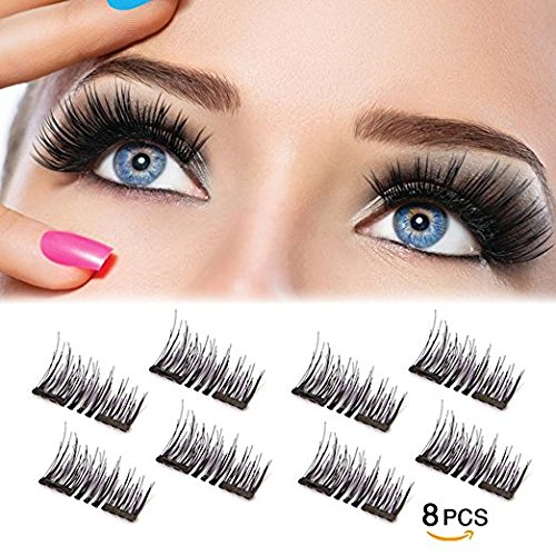 Amazon.com : Dual Magnetic False Eyelashes -Ultra Thin 3D Fiber Reusable magnetic eyelashes : Beauty