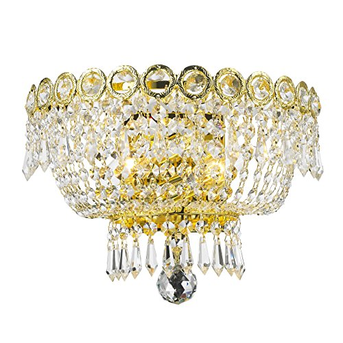 Worldwide Lighting Empire Collection 2 Light Gold Finish and Clear Crystal Wall Sconce 12