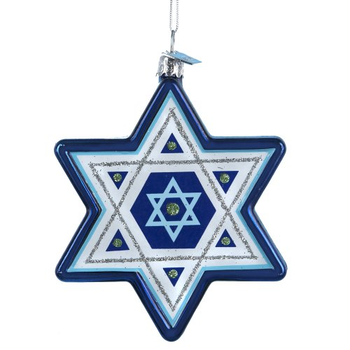Noble Gems Kurt Adler Star of David Hanukkah Ornament, 3.25-Inch -
