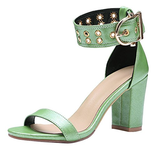 Mee Shoes Damen Chunky Heels Ankle Strap Open Toe Sandalen Grün