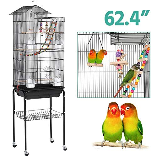 Yaheetech Roof Top Large Flight Parakeet Parrot Bird Cage with Rolling Stand for Parakeets Cockatiels Lovebirds Finches Canaries Budgie Conure Small Parrot Bird Cage Birdcage reviews