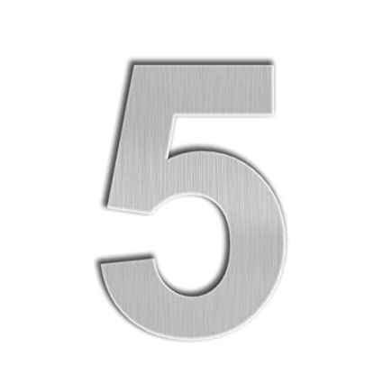 QT Modern House Number - Large 8 Inch - Brushed Stainless Steel (Number 5  Five), Floating Appearance, Easy to Install and Made of Solid 304