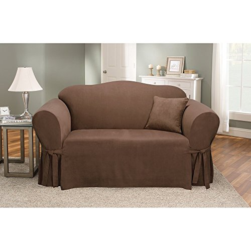 - SureFit Soft Suede 1-Piece - Loveseat Slipcover - Chocolate