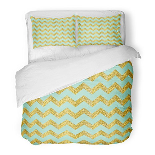 SanChic Duvet Cover Set Celebration Gold Confetti on Chevron and Turquoise Day Endless Geometric Decorative Bedding Set with 2 Pillow Shams Full/Queen (Brushed Metal Gold Background)