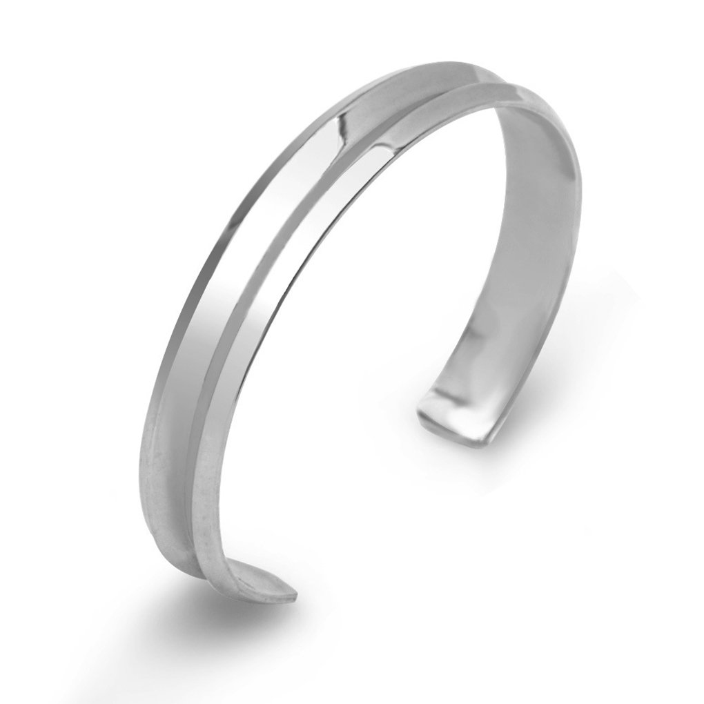 M-Egal Western Style Hairband Bracelet C-shaped Groove Design Opened Alloy Bracelet silver 6cm