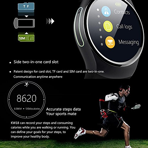 Amazon.com: KOBWA KW18 All-in-1 Bluetooth Smart Watch Phones,Sim Wrist Smartwatches For IOS/Android Smartphones,Support SIM TF Card Heart Rate Monitor: ...