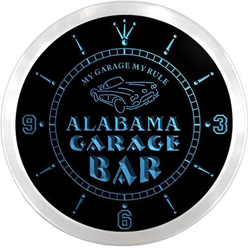 ncpp2001-b ALABAMA Garage Car Repairs Rule Beer Bar LED Neon Sign Wall Clock - Alabama Neon Clock