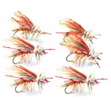 Orange Crystal Stimulator Rubber Legs Trout Dry Fly 6 Flies Size 12