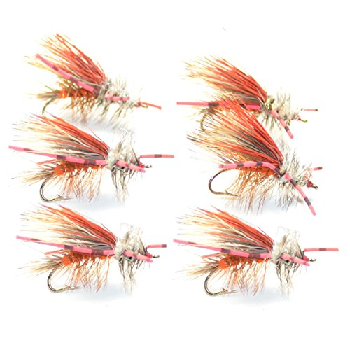 Orange Crystal Stimulator Rubber Legs Trout Dry Fly 6 Flies Size 12 (Stimulator Dry Fly)