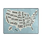 Mock ST Map of United States America with Names Area Rug Pad Kids Children Play Solid Home Decorator Floor Mat Non-Slip Anti-Static, Water-Repellent Rugs Carpet 63 x 48 inch