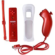 Wii Motion Remote,YUDEG Motion Plus Remote and Nunchuck Controller with Protective Silicon Case for Nintendo Wii Wii U (Red)