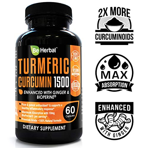 BE HERBAL Premium Organic Turmeric Curcumin with Bioperine 1500mg - The Most Potent Turmeric Curcumin Supplement with 95% Standardized Curcuminoids - Enhanced with Ginger Extract - 60 Veg Capsules