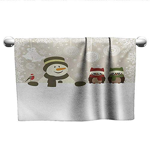 xixiBO Bath Towel Set W39 x L10 Christmas,Snowman and Owls in Snowy Winter Day with Jingle Bells and Snowflake Figures Image,Multi Bath Towel