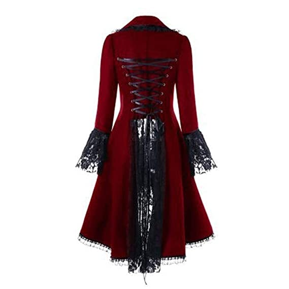 Womens Vintage Long Sleeve High Low Lace Up Casual Jacket Long Tuxedo Coats Overcoat: Clothing